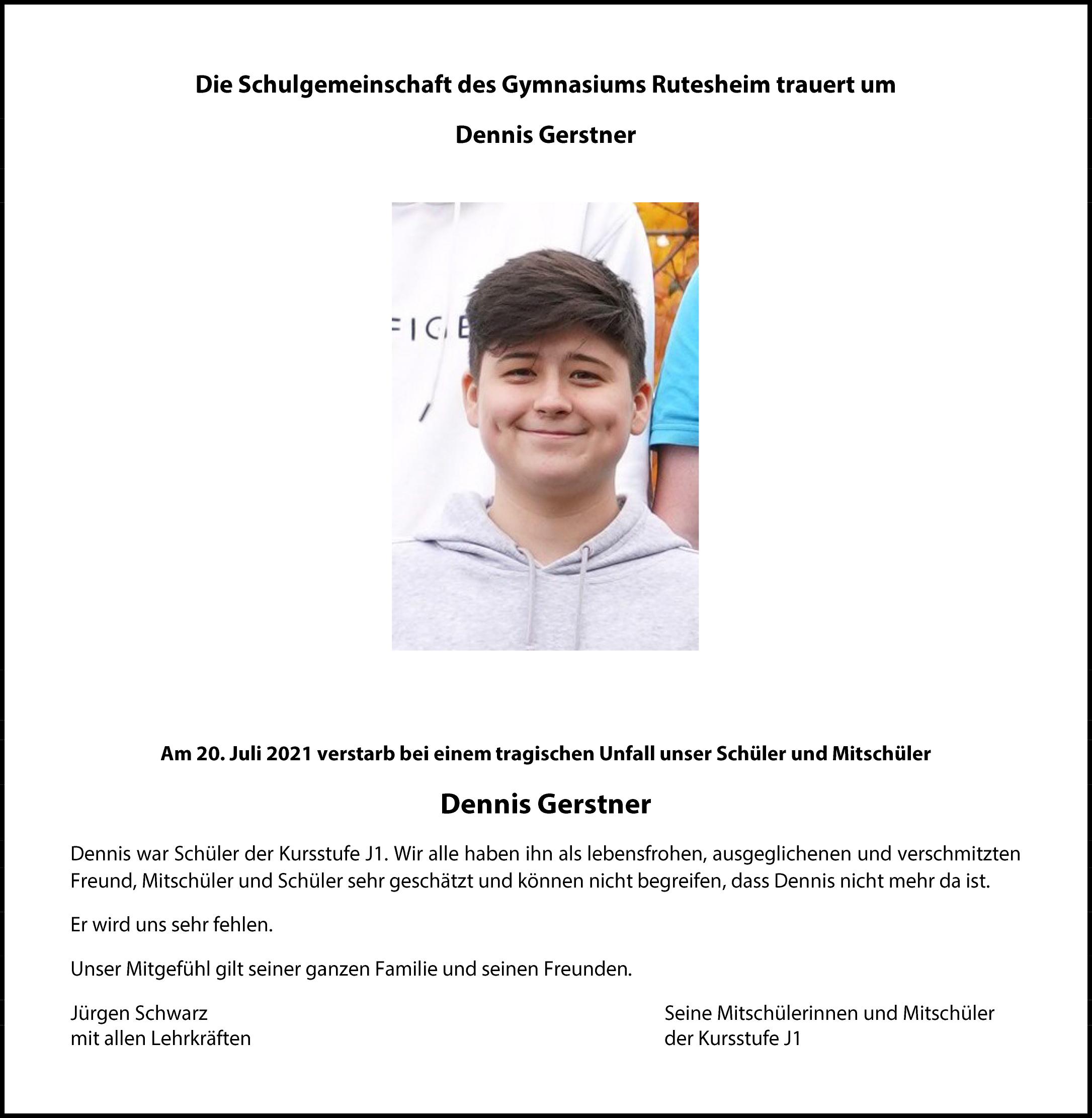Schulgemeinschaft trauert um Denis Gerstner 2