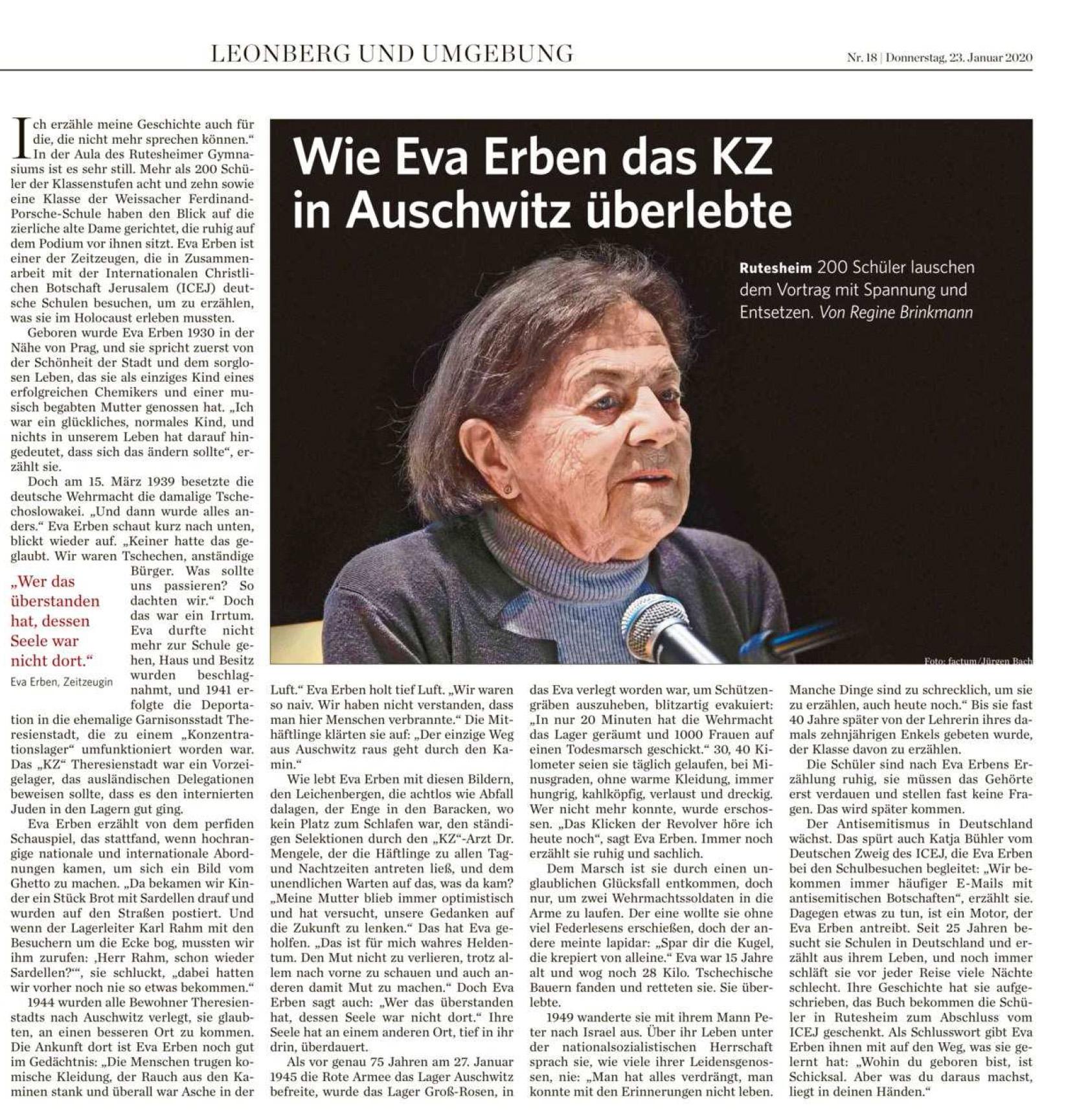 2020 01 23 Wie Eva Erben das KZ in Auschwitz überlebte